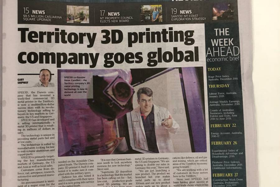 SPEE3D Features in the NT Business News